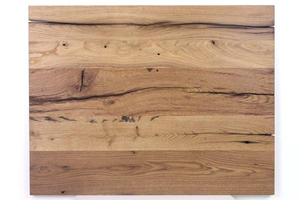 Maßgefertigte Tischplatte aus Eiche Altholz geölt, ungespachtelt, geschliffen oder gebürstet
