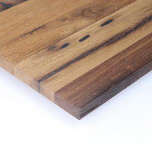 Maßgefertigte Tischplatte aus Eiche Altholz gespachtelt, geölt und geschliffen oder gebürstet